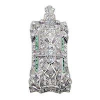 Art Deco Platinum Diamond Pin / Pendant ca 1920-30 - Fabulous!