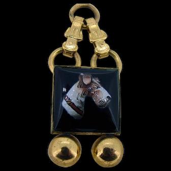 Large Victorian Enamel Dog Watch Fob