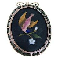 Victorian Pietra Dura Bird Locket / Pendant