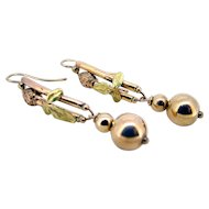 Victorian 14k Tri Gold Earrings