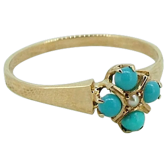 Victorian 14kt Turquoise & Pearl Ring