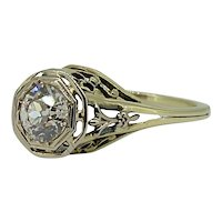 Victorian/Early Edwardian 14kt Yellow Gold Filigree .66ct Euro Cut Diamond Ring -