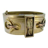 Victorian Wide Gold Filled Bangle - Excellent Detail!