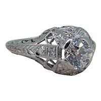 Art Deco Platinum Diamond Ring - .75ct European Cut