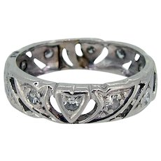 Art Deco Platinum Filigree Diamond Eternity Band