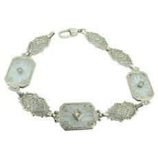 Camphor Glass Bracelet / Art Deco Camphor Glass - Satin Glass 14kt Diamond Bracelet