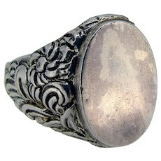Art Deco Signet Ring / Art Deco Vintage 800 Silver Men's Signet Ring - size 10