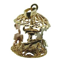 Carousel Charm / Vintage Tri Gold Horse Carousel  Charm 14kt