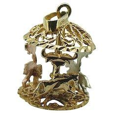 Carousel Charm / Vintage Tri Gold Horse Carousel  Charm 14kt