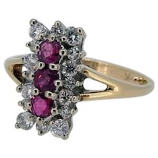 Vintage Ruby Ring / Ruby and Diamond Ring - Mid Century - 14kt Two Tone!