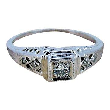Art Deco Filigree Diamond Ring / .10cts round- 14kt