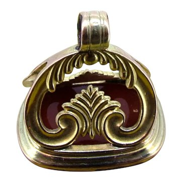 Large Victorian Carnelian Watch Fob - Gold Filled