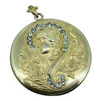 Question Mark Lady Locket / LARGE SIZE!   Art Nouveau Gold Filled