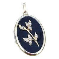 Art Deco Mourning Locket - Binder Brothers / Onyx Seed Pearls