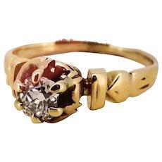 Victorian 14kt Mine Cut Diamond Ring - Est .20cts