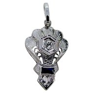 Art Deco Petite 14k Diamond Pendant - New Bail