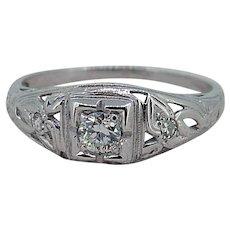 Art Deco Diamond 18k White Gold Filigree Ring