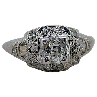 Art Deco 14kt White Gold Mine Cut Diamond Ring