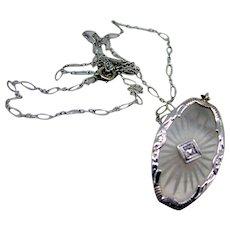 Art Deco 14kt Camphor / Satin Glass Diamond Pendant - Ca 1920-30