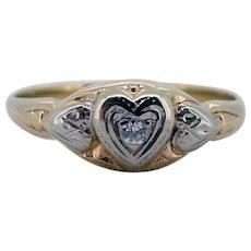 Vintage 10kt Sweet Heart Diamond Ring - Ca 1930-40