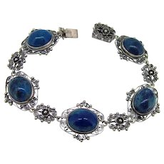 Art Deco Sterling & 800  Lapis Bracelet - 5 Lapis Links