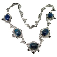 Art Deco Sterling Lapis Necklace - Italy