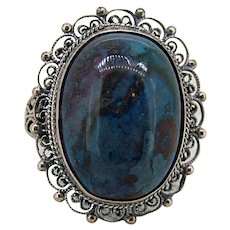 Art Deco Sterling Lapis Filigree Ring - Large Cabochon