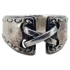 Hermes Sterling Corset Ring - Size 7