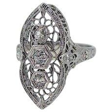 Art Deco North / South Style 18k White Gold Filigree Diamond Ring