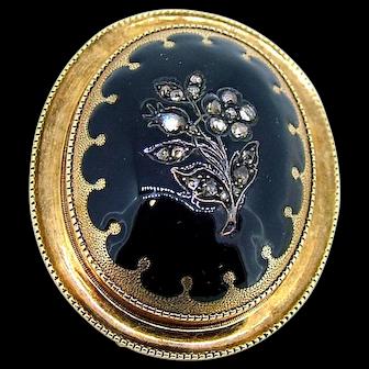 Victorian 15kt Diamond Enamel Pin Pendant - Ca 1880