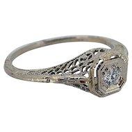 Art Deco Diamond Ring 18kt White Gold Filigree - .10cts