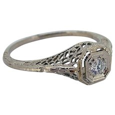 Art Deco Diamond Ring 18kt White Gold Filigree - .10cts