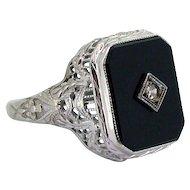 Art Deco Onyx Diamond Ring 14kt White Gold Filigree
