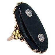 Victorian Large Long Onyx Diamond Ring 10kt Yellow Gold
