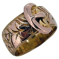 Victorian Buckle Ring - Hand Engraved - Stamped 9ct English Origin