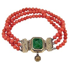 Victorian Coral Bead Bracelet With Jade Clasp -10-12 karat Gold - Tested