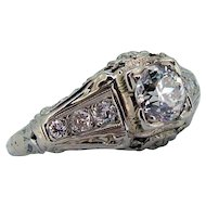 Art Deco Diamond Engagement / Wedding Ring 18kt White Gold .46ct Center