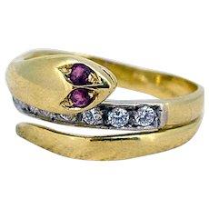 Snake Ring - Bury & Diamonds - Mid 20th Century 18kt Gold