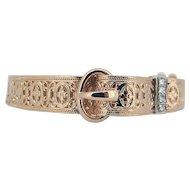 14kt Yellow Gold Filigree Diamond Buckle Bracelet - Mid 20th C