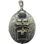 Large Sterling Victorian Buckle Locket