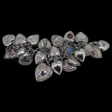 Vintage 1930-1940's Sterling (21) Puffy Heart Charm Bracelet