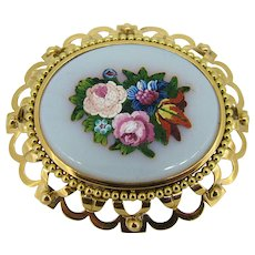 Victorian 18kt Yellow Gold White Background - Floral Bouquet Micro Mosaic Pin Ca 1890