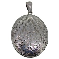 Victorian Large Sterling Hand Engraved Locket