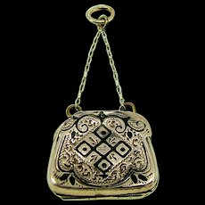 Victorian 14 Kt T'aille Epegne Black Enamel Purse FOB Locket - Circa 1870-1880 Tin Type photos inside