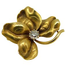 Vintage 14kt Yellow Gold Clover Pin - .30 Euro Cut Diamond