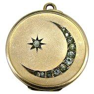 Edwardian 1904 Moon & Star Paste Gold Filled Locket