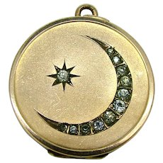 Edwardian 1904 Moon & Star Paste Gold Filled Locket