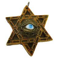 Vintage Glass Evil Eye - on Hexagram - Six Pointed Star - Resin