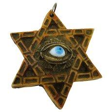 Vintage Glass Evil Eye - on Hexagram - Six Pointed Star - Resin