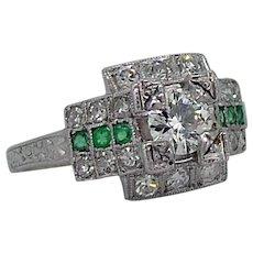 Art Deco Diamond Emerald Platinum Ring